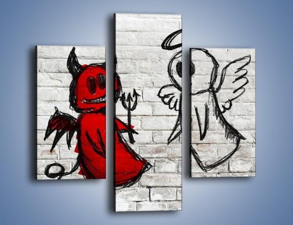 Obraz na płótnie – Rozmowa świętego z diabłem – trzyczęściowy GR235W3