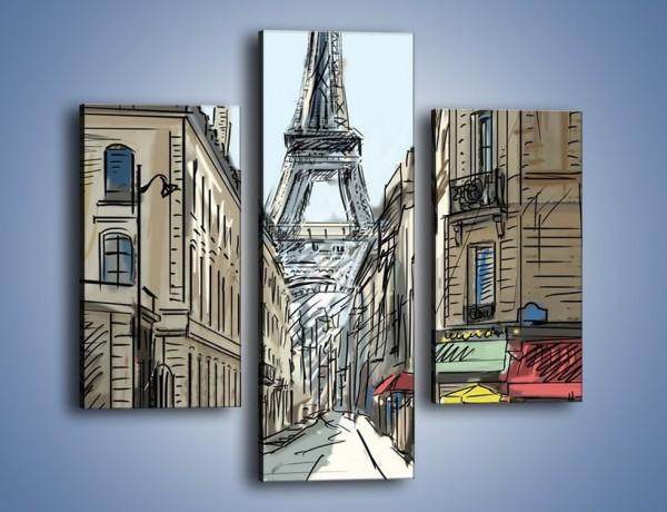 Obraz na płótnie – Paryskie uliczki z widokiem – trzyczęściowy GR259W3