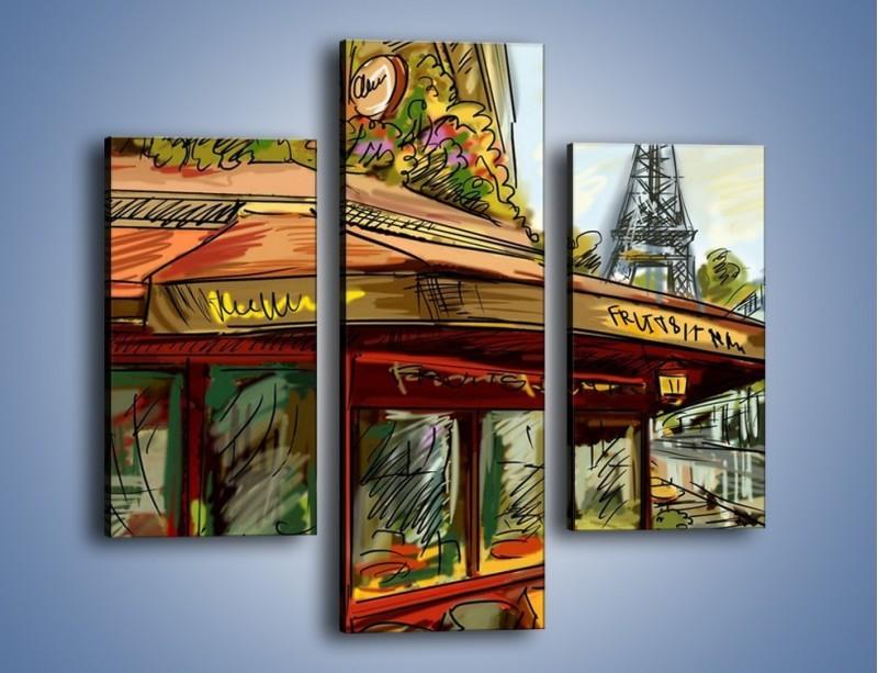 Obraz na płótnie – Paryskie kawiarenki pod daszkiem – trzyczęściowy GR261W3