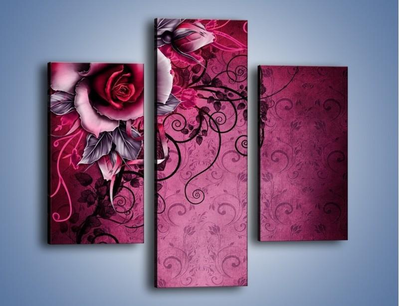 Obraz na płótnie – Róża i purpur – trzyczęściowy GR272W3