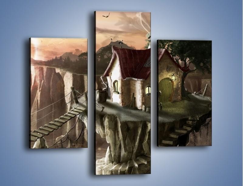 Obraz na płótnie – Domki nad przepaścią – trzyczęściowy GR283W3