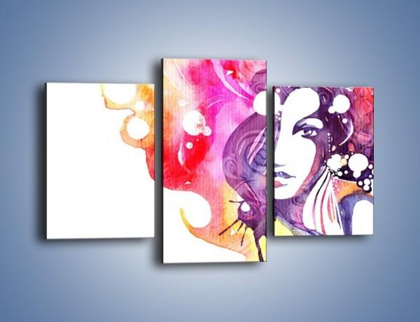 Obraz na płótnie – Barwy w otoczeniu kobiety – trzyczęściowy GR296W3