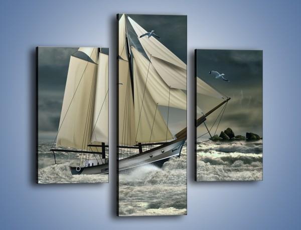Obraz na płótnie – Walka okrętu z falami – trzyczęściowy GR308W3