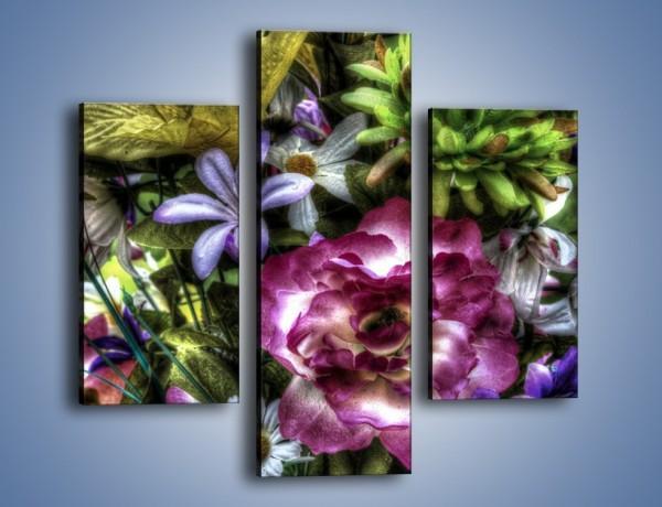 Obraz na płótnie – Kwiaty w różnych odcieniach – trzyczęściowy GR318W3