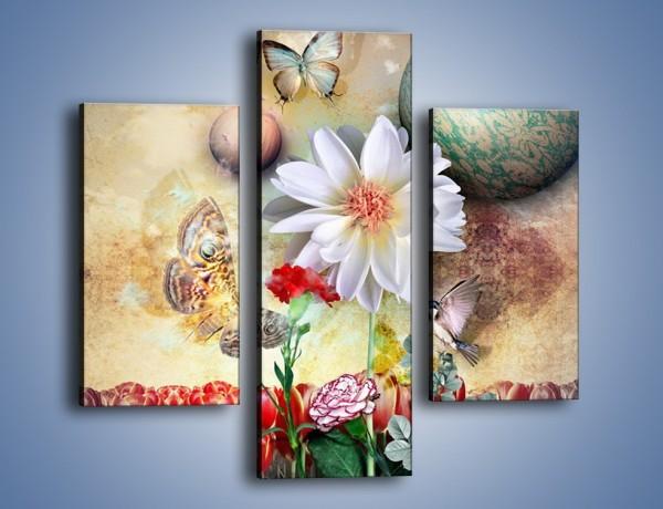 Obraz na płótnie – Motyl wśród kwiatów – trzyczęściowy GR319W3