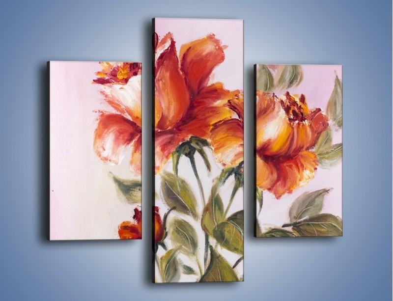 Obraz na płótnie – Kwiaty na płótnie malowane – trzyczęściowy GR322W3