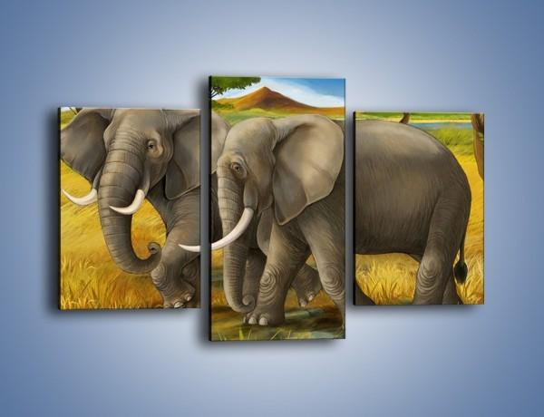 Obraz na płótnie – Rozmowa słoni podczas spaceru – trzyczęściowy GR334W3