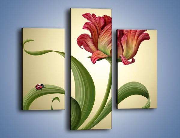 Obraz na płótnie – Malutka biedroneczka i kwiat – trzyczęściowy GR345W3