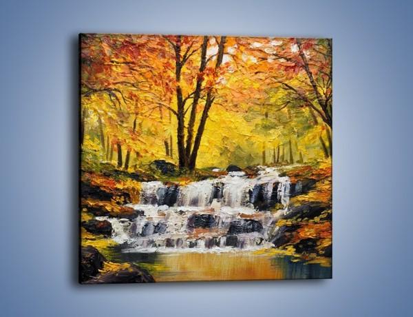 Obraz na płótnie – Wodospad w środku lasu – jednoczęściowy kwadratowy GR436