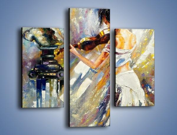 Obraz na płótnie – Biała dama i skrzypce – trzyczęściowy GR368W3