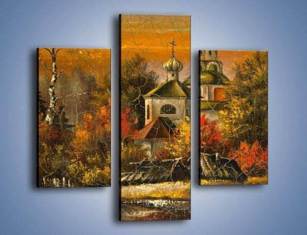 Obraz na płótnie – Kaplica późną jesienią – trzyczęściowy GR369W3