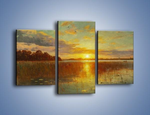 Obraz na płótnie – Zachód słońca nad rzeką – trzyczęściowy GR380W3