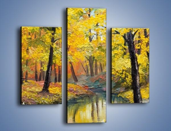 Obraz na płótnie – Jesienną pora w lesie – trzyczęściowy GR434W3