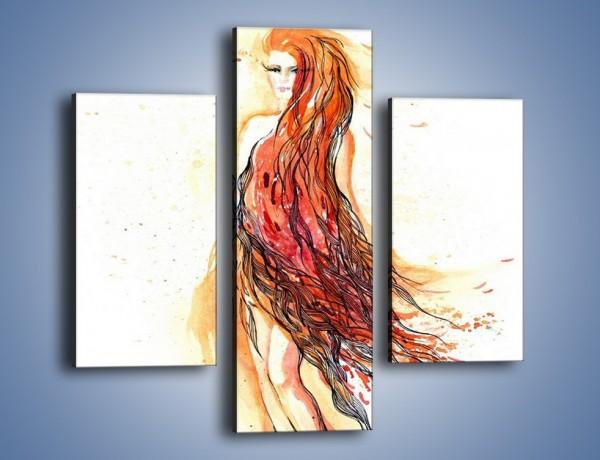 Obraz na płótnie – Suknia z włosów – trzyczęściowy GR445W3