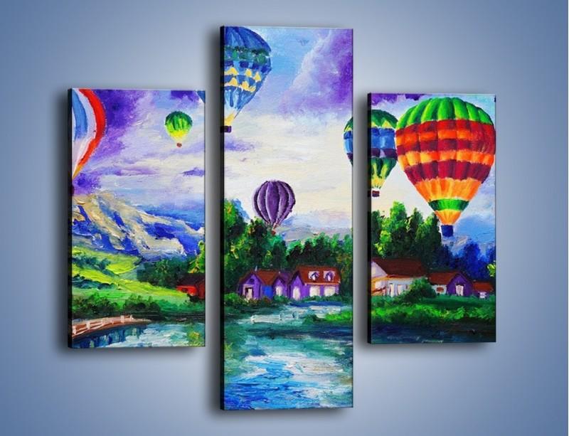Obraz na płótnie – Lot kolorowym balonem – trzyczęściowy GR482W3