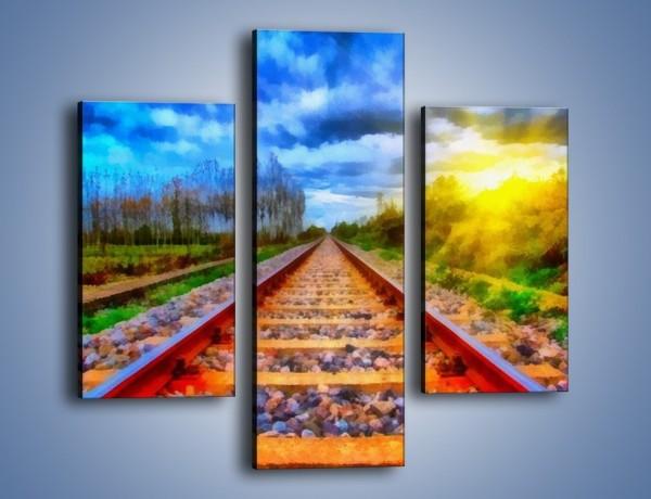 Obraz na płótnie – Podróż w nieznane pociągiem – trzyczęściowy GR488W3