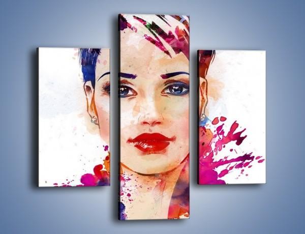 Obraz na płótnie – Piękna kobieta w kolorze – trzyczęściowy GR499W3