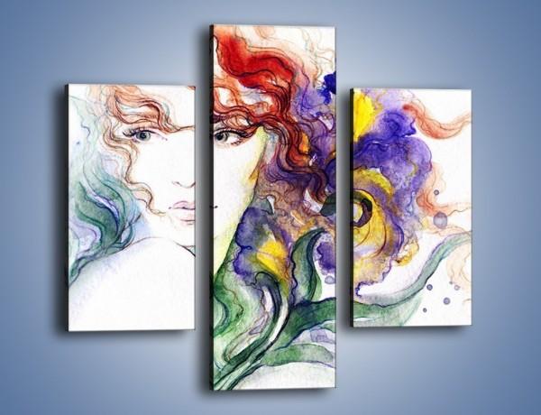 Obraz na płótnie – Kolory we włosach – trzyczęściowy GR513W3