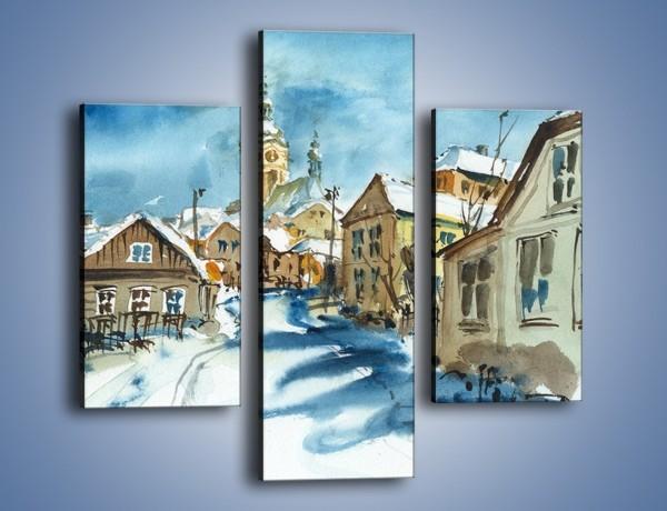 Obraz na płótnie – Miasto uśpione zimą – trzyczęściowy GR557W3