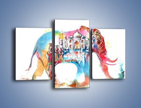 Obraz na płótnie – Słoń z niejedną historią – trzyczęściowy GR562W3