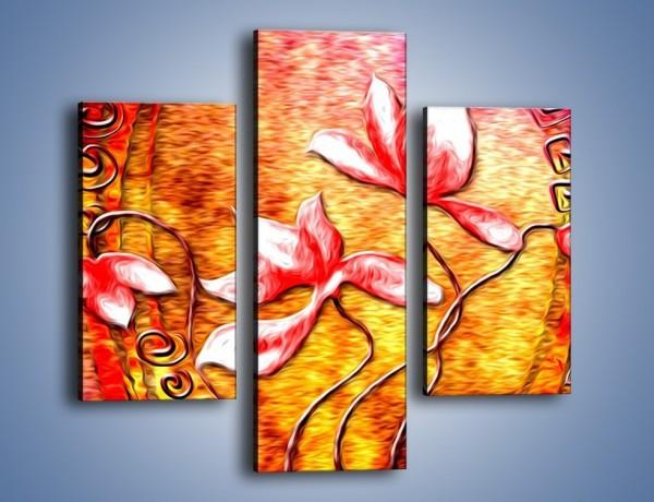 Obraz na płótnie – Kwiaty i ogień – trzyczęściowy GR565W3