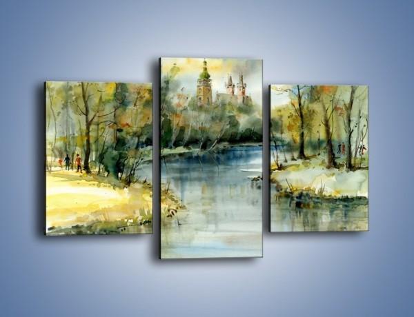 Obraz na płótnie – Postój nad rzeką – trzyczęściowy GR578W3