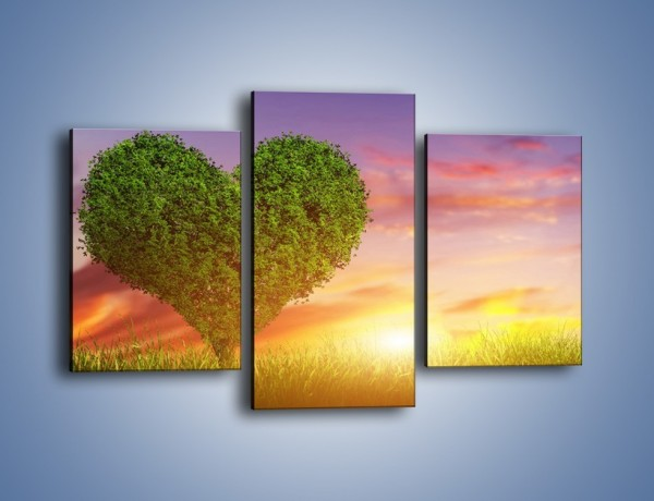 Obraz na płótnie – Serce wśród zieleni – trzyczęściowy GR616W3