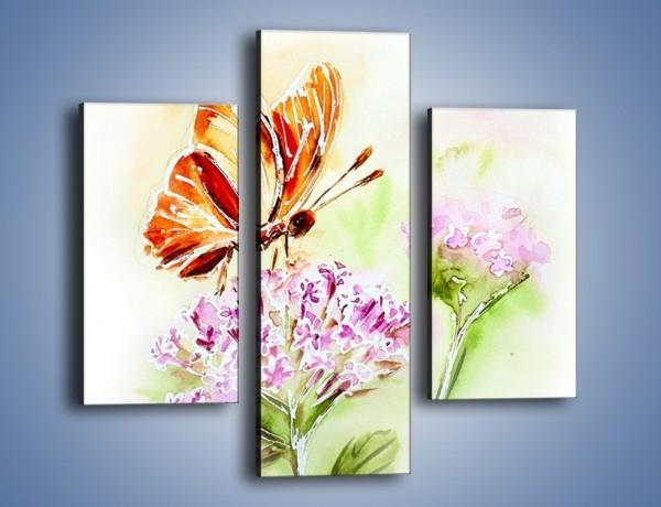 Obraz na płótnie – Kwiat z motylem – trzyczęściowy GR625W3