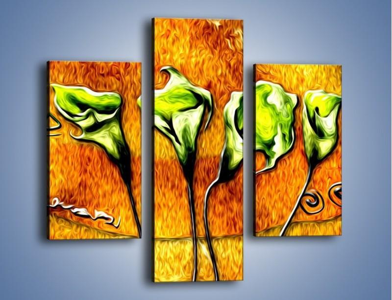 Obraz na płótnie – Zielone kalie w ogniu – trzyczęściowy GR635W3