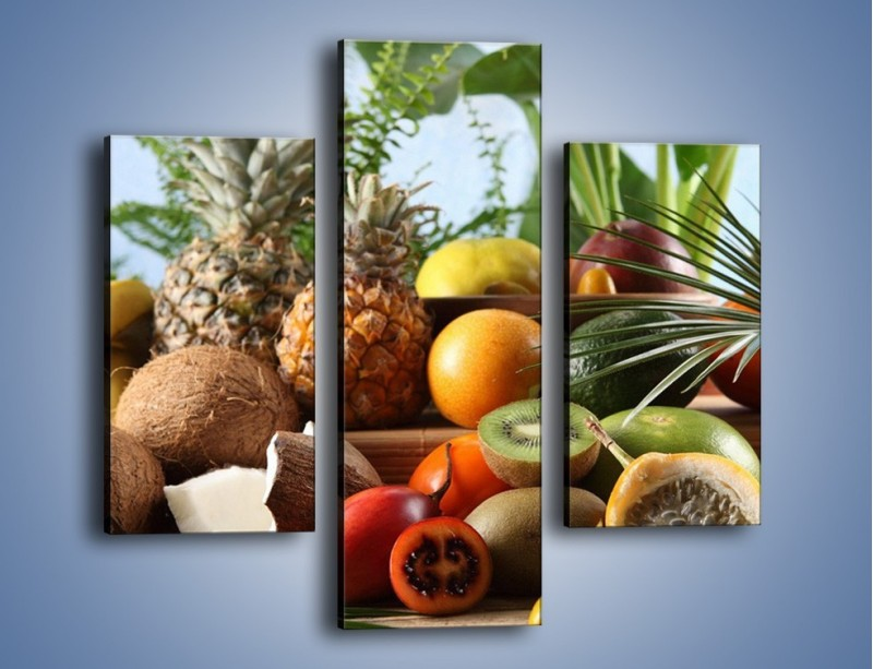Obraz na płótnie – Mix owocowy na drewnianym stole – trzyczęściowy JN009W3