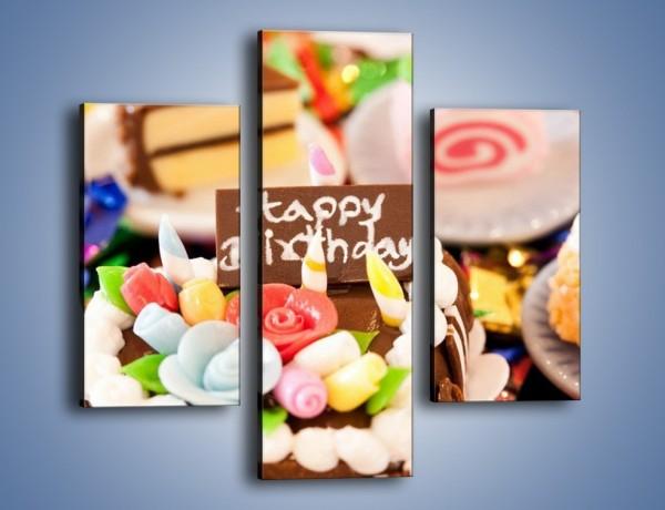 Obraz na płótnie – Urodzinowe mini torciki – trzyczęściowy JN013W3