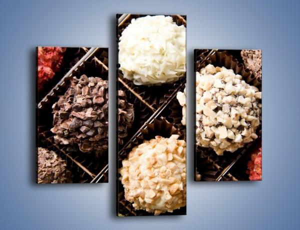 Obraz na płótnie – Kolorowy mix pralin – trzyczęściowy JN019W3