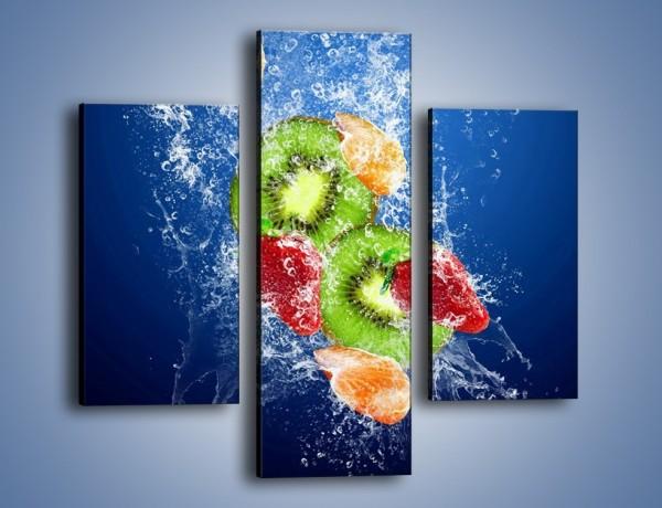 Obraz na płótnie – Soczyste kawałki owoców w wodzie – trzyczęściowy JN023W3