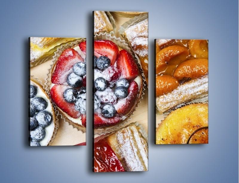 Obraz na płótnie – Kolorowe wypieki z dodatkiem owoców – trzyczęściowy JN032W3