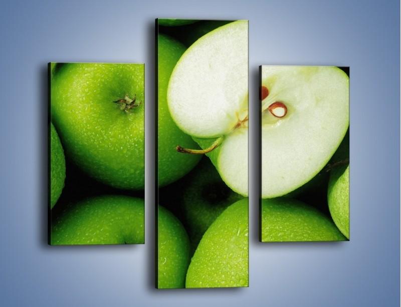 Obraz na płótnie – Zielone jabłuszka – trzyczęściowy JN039W3