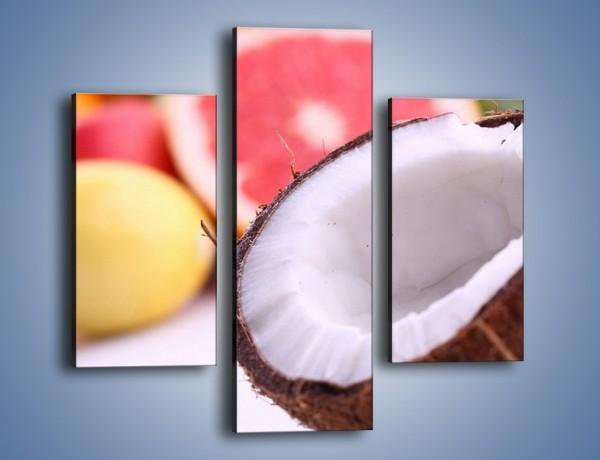 Obraz na płótnie – Kokosowo-owocowy mix – trzyczęściowy JN042W3