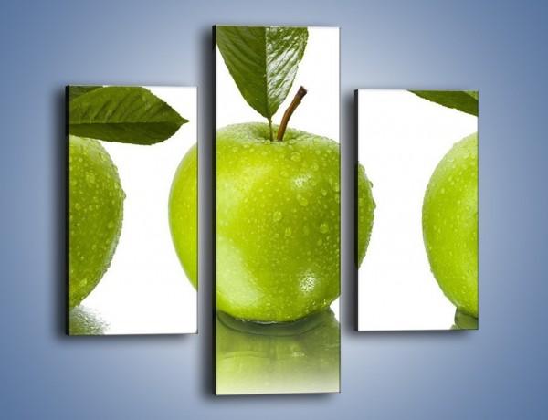 Obraz na płótnie – Świeżo umyte zielone jabłka – trzyczęściowy JN047W3