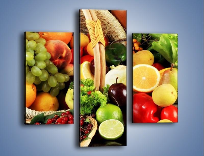 Obraz na płótnie – Kosz pełen owocowo-warzywnego zdrowia – trzyczęściowy JN059W3