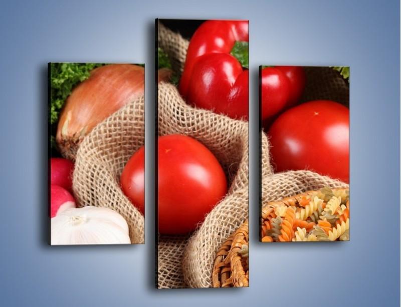 Obraz na płótnie – Makaron z warzywami – trzyczęściowy JN076W3