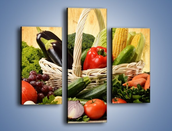 Obraz na płótnie – Kosz pełen warzywnych witamin – trzyczęściowy JN081W3