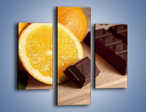 Obraz na płótnie – Czekoladowo-pomarańczowa rozkosz – trzyczęściowy JN094W3