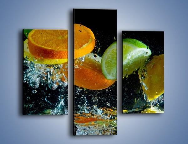 Obraz na płótnie – Radośnie skąpane owocowe kawałki – trzyczęściowy JN099W3