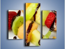 Obraz na płótnie – Czekoladowo-owocowe szaszłyki – trzyczęściowy JN112W3
