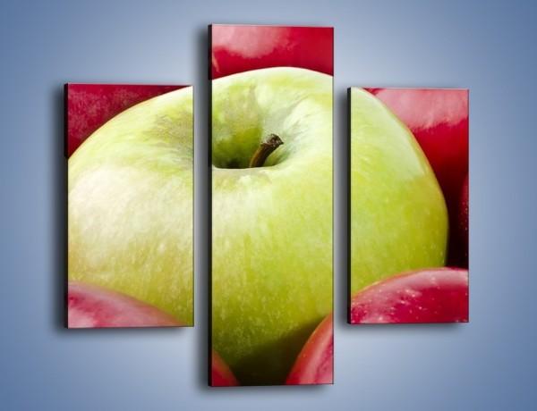 Obraz na płótnie – Zielone wśród czerwonych jabłek – trzyczęściowy JN155W3