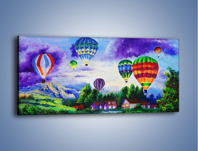 Obraz na płótnie – Lot kolorowym balonem – jednoczęściowy panoramiczny GR482