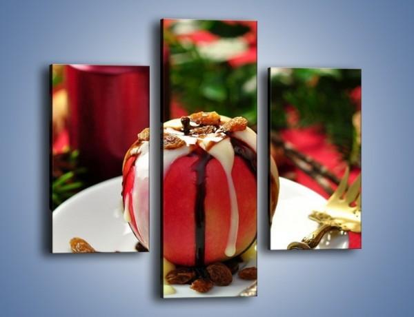 Obraz na płótnie – Jabłko w czekoladzie – trzyczęściowy JN255W3
