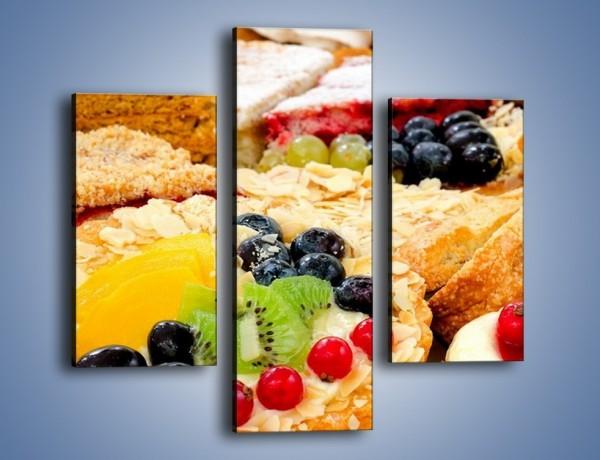 Obraz na płótnie – Słodkości z cukierni – trzyczęściowy JN276W3