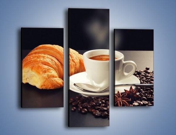 Obraz na płótnie – Rogalik z kawą – trzyczęściowy JN278W3