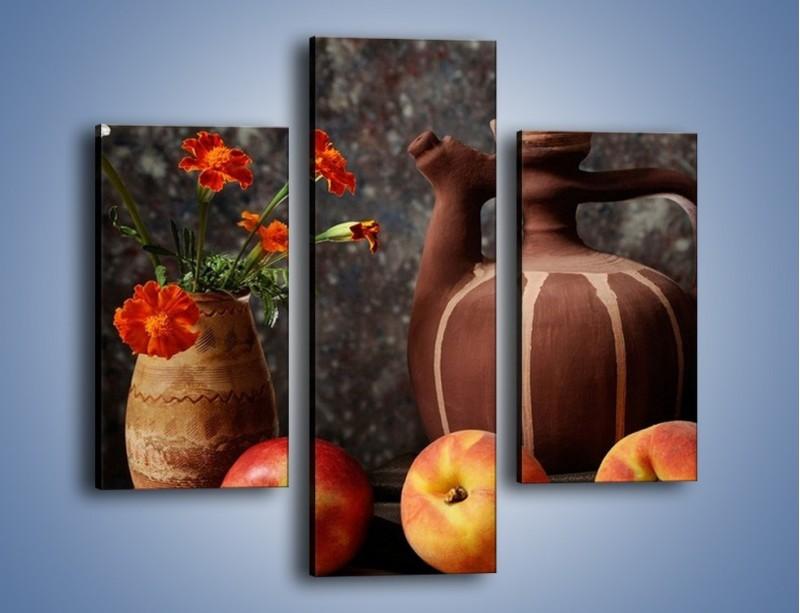 Obraz na płótnie – Kwiaty wśród owoców – trzyczęściowy JN280W3