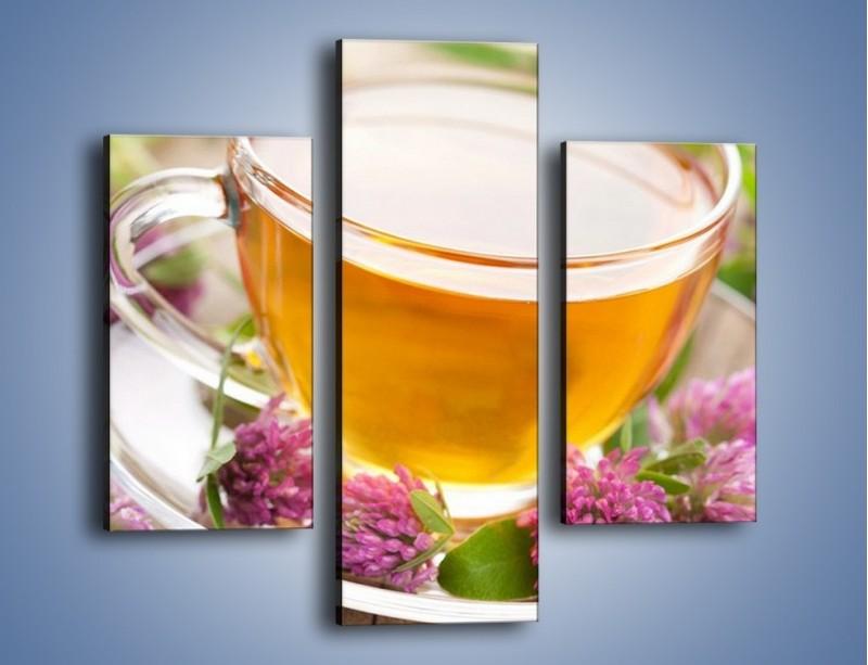 Obraz na płótnie – Herbata z kwiatami – trzyczęściowy JN283W3